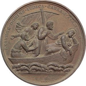 reverse: Pio IX  (1846-1878), Giovanni Mastai Ferretti. Medaglia A. XXIV in difesa dei diritti della Chiesa.    Bart. XXIV-45. AE.   mm. 48.60 Inc. F. Speranza.  Minimo colpetto sul ciglio SPL/qFDC.