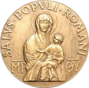 reverse: Pio XII (1938-1959), Eugenio Pacelli. Medaglia A. XI, 1949.  D/ Busto a destra con mozzetta e stola. R/ SALVS POPVLI ROMANI. La Madonna col bambino.  AE.   mm. 61.00    SPL+.