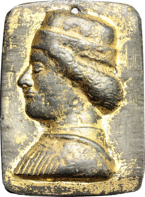obverse:  Placchetta in piombo dorato (56 X 41 mm) con ritratto signorile.        mm. 81.00    BB.