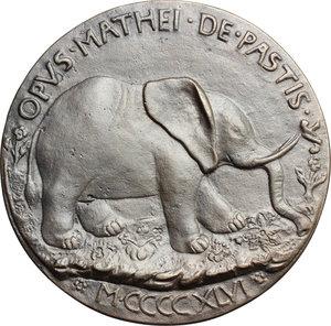reverse: Rimini. Isotta degli Atti (+ 1474/5) moglie di Sigismondo Malatesta dal 1456. Medaglia con l elefante.  D/ ISOTE ARIMINENSI FORMA ET VIRTVTE ITALIE DECORI. Busto velato a destra. R/ OPVS MATHEI DE PASTIS. Elefante rivolto a destra. In esergo: MCCCCXLVI. Kress 59. Hill 187. AE.   mm. 81.00  RRR. Fusione posteriore. qSPL.
