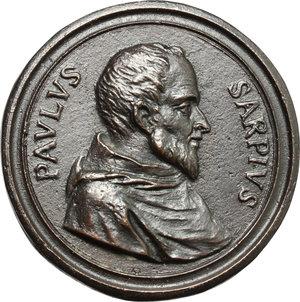 obverse: Paolo Sarpi (1552-1623), umanista. Medaglia dell 800.  D/ PAOLVS SARPIVS. Busto a destra. R/ DOCTOR GENTIVS.  AE.   mm. 41.00    SPL.
