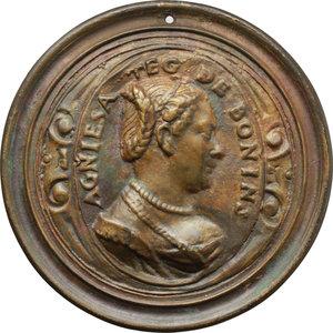 obverse: Agnesia Teg de  Bonini. Medaglia fusa uniface, circa metà del XVI secolo.    Attwood 697. AE.   mm. 84.00   Fusione posteriore. Bel BB.