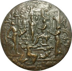 obverse:  Grande medaglia uniface  Il giudizio di Salomone , sec. XVI.     AE.   mm. 143.00   Bel BB.