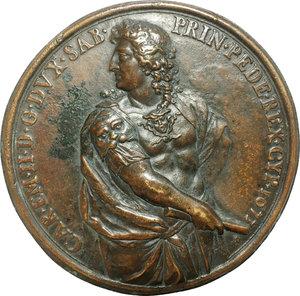 obverse: Carlo Emanuele II (1638-1675). Grande medaglia uniface, 1673.  D/ CAR EM II D G DVX SAB PRIN PEDE REX CYP 1673. Figura di due/terzi volta a sinistra.   AE.   mm. 143.00   Bel BB.