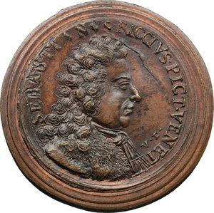 obverse: Venezia. Sebastiano Ricci (1659-1734), pittore e incisore. Medaglia coniata.  D/ SEBASTIANVS RICCIVS PICT. VENET. Busto a destra. V.F. R/ NATVS/ MDCLIX/ OBIIT/ MDCCXXXIIII/ I. V. entro corona d alloro. Volt. 1577 (questo esemplare). AE.   mm. 36.50 Inc. Giovanni Zanobio Weber. RR.  FDC.
