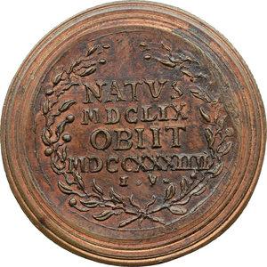 reverse: Venezia. Sebastiano Ricci (1659-1734), pittore e incisore. Medaglia coniata.  D/ SEBASTIANVS RICCIVS PICT. VENET. Busto a destra. V.F. R/ NATVS/ MDCLIX/ OBIIT/ MDCCXXXIIII/ I. V. entro corona d alloro. Volt. 1577 (questo esemplare). AE.   mm. 36.50 Inc. Giovanni Zanobio Weber. RR.  FDC.