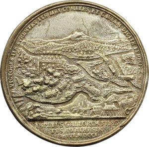 reverse: Casa Savoia. Eugenio di Savoia (1663-1736). Medaglia 1701 per la battaglia di Athesis.    Wurzbach 4497. AE argentato.   mm. 46.00 Inc. M. Brunner-G. F. Niirnberger. R. Colpetti. BB.