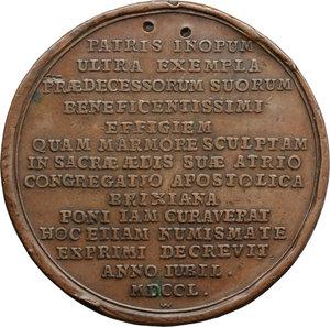 reverse: Brescia. Angelo Maria Querini (1680-1755), Cardinale Vescovo di Brescia. Medaglia coniata 1750.  D/ ANG. M. S. R.  E. BIBL. CARD. QVIRINVS. EP. BRIX. Busto a sinistra con zucchetto e mozzetta. P. P. WERNER F. nel taglio del busto. R/ PATRIS INOPUM/ ULTRA EXEMPLA/ PRAEDECESSORUM SUORUM/ BENEFICENTISSIMI/ EFFIGIEM/ QUAM MARMORE SCULPTAM/ IN SACRAE AEDIS SUAE ATRIO/ CONGREGATIO APOSTOLICA/ BRIXIANA/ PONI IAM  CURAVERAT/ HOC ETIAM NUMISMATE/EXPRIMI DECREVIT/ ANNO IUBIL./ MDCCL. Volt. 1504. AE.   mm. 48.00 Inc. Peter Paul Werner.  Graffi e segni al D/; due tentativi di foro al R/. MB/BB.