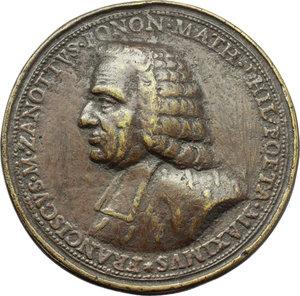 obverse: Bologna. Francesco Maria Zanotti (1692-1777), Compositore. Medaglia celebrativa.     AE.   mm. 54.00 Inc. Balugani.   qBB.