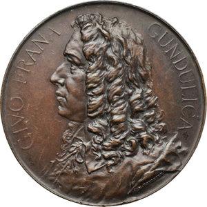 obverse: Ragusa. Giovanni Francesco Gondola (1588-1638), scrittore e poeta. Medaglia 1893.     AE.   mm. 50.00 Inc. J. Neubauer.   SPL.