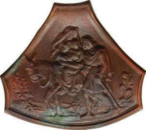 reverse:  Placchetta a sbalzo raffigurante la Fuga in Egitto, scuola spagnola, XVIII secolo.     AE.     64 x 57 mm. SPL.