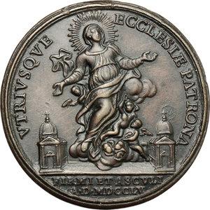 obverse:  Medaglia 1755 per la consacrazione del Vescovo di Fermo ed Ascoli P. Paolo Leonardi.  D/ VTRIVSQVE ECCLESIAE PATRONA. La Vergine su nubi; ai lati, le due Chiese. In esergo, FIRMI ET ASCVLI A D MDCCLV. R/ A BORGIA ARCHIEP ET PRINCEPS FIRMANVS. La consacrazione episcopale. In esergo, P PAVLVM LEONARDVM EP ET PRINC ASCVLAN INVNGIT. Johnson II pag. 857 n. 679. AE.   mm. 43.00 Inc. Manfredini.   BB+.