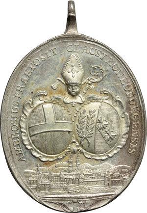 obverse: Ambros Lorenz (1772-1782), Klosterneuburg. Medaglia ovale devozionale con S. Leopoldo e S. Agnese.     AG.     37 x 30 mm. qFDC.