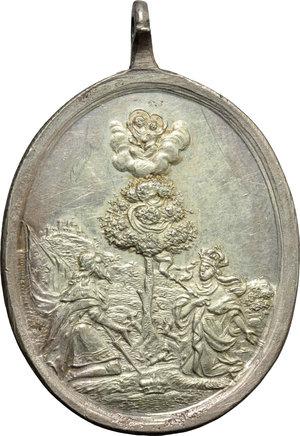 reverse: Ambros Lorenz (1772-1782), Klosterneuburg. Medaglia ovale devozionale con S. Leopoldo e S. Agnese.     AG.     37 x 30 mm. qFDC.