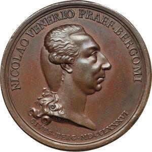 obverse: Bergamo. Nicolò Venier (1743-  ) Capitano di Bergamo e la moglie Eleonora Bentivoglio. Medaglia 1786.  D/ NICOLAO VENERIO PRAEF BERGOMI. CIVES BERG MDCCLXXXVI. Busto a destra, nel taglio, A G F. R/ ELEONORAE BENTIVOLAE CONIVGI. Busto a destra. Volt. 1697. AE.   mm. 42.00 Inc. Anton Guillemard. R. Colpetto al ciglio. SPL. Nicolò, appartenente ai Venier del ramo  ai Gesuiti , figlio di Sebastiano e di Elisabetta Mocenigo, nacque il 5 marzo 1743. Il 31 ottobre 1784 Nicolò prese in moglie Eleonora Bentivoglio; sposato da pochi giorni iniziò il suo mandato di Capitano a Bergamo.