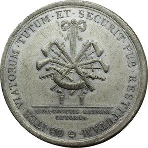 reverse: Marcantonio Giustinian (1741- ), Luogotenente della patria del Friuli. Medaglia coniata 1788.  D/ M. ANTO. IVSTINIANO P. F. I. PRAET. Busto a destra, sotto, PATRIAE VI VIRI ET/ RVRALIVM SINDICI/ MDCCLXXXVIII. R/ OB ITER VIATORUM TUTUM ET SEGURIT PUB RESTITUTAM. Armi; all esergo, ARMA DOMITIS LATRONI/ EXTORTA. Volt. 1710. MB.   mm. 46.70 Inc. Ignaz Donner.  Segnetti, colpo al ciglio. BB. Il Giustinian viene ricordato principalmente per aver debellato la piaga del banditismo dall Alto Friuli. Egli infatti condusse una felice campagna contro i ladroni Pagnutti che, dalla  casa dei corvi  presso Gemona, scendevano a terrorizzare il Friuli. I due capibanda, Pressa e Zefon furono impiccati. La prima medaglia, dedicata al Giustinian dai sei Deputati della Patria e dagli otto Sindaci  della Contadinanza, ricorda appunto la sconfitta di questi banditi di cui vengono raffigurate le armi, in particolare i temibili fucili  scavezzi .