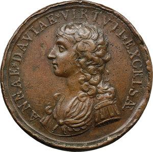 obverse: Belluno. Anna Davia (1743-post 1810), Cantante. Medaglia coniata.  D/ ANNAE DAVIAE VIRTVTI EXCELSAE. Busto a sinistra. R/ MERITO SACRARVNT LIBVRNEN AN 1792. Strumenti musicali entro corona d alloro. Volt. 1746 (questo esemplare). AE.   mm. 37.50 Inc. A. Cinc.   MB/BB.