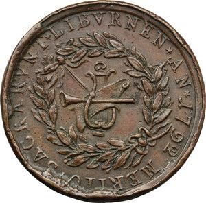 reverse: Belluno. Anna Davia (1743-post 1810), Cantante. Medaglia coniata.  D/ ANNAE DAVIAE VIRTVTI EXCELSAE. Busto a sinistra. R/ MERITO SACRARVNT LIBVRNEN AN 1792. Strumenti musicali entro corona d alloro. Volt. 1746 (questo esemplare). AE.   mm. 37.50 Inc. A. Cinc.   MB/BB.