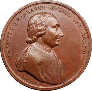 obverse: Venezia. Francesco Barbaro (1749-1828), canonico e predicatore. Medaglia coniata 1795.  D/ FRANCISCUS BARBARUS CANONIC SAC ORATOR. Busto a destra; sotto, A. GUILLEMARD F. R/ THEOLOGO OPTIMO/ PHILO ORATOR INCOMPAR/ DOCTRINA SAPIENTIA ELOQUENTIA/ ERRORIB VITIIS IGNORANT/ CORRECT SANAT INSRTUCT/ HOC/ AEXIMIAE EIUS VIRRTUTIS ADMIRATOR/ PERPET HONOR CAUSA/ MONIMENTUM/ DICAR/ ANNO MDCCXCV. Volt. 1768 (questo esemplare). AE.   mm. 49.00 Inc. Anton Guillemard.   SPL.