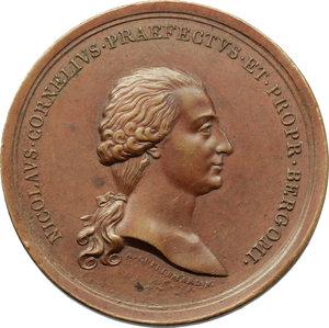 obverse: Bergamo. Nicolò Corner (1765-   ). Medaglia per la fine del mandato di Capitano e Vicepodestà di Bergamo,1795.    Volt. 1765 (questo esemplare). AE.   mm. 48.00 Inc. A. Guillemard.   qSPL.