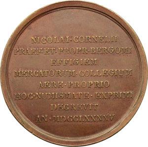 reverse: Bergamo. Nicolò Corner (1765-   ). Medaglia per la fine del mandato di Capitano e Vicepodestà di Bergamo,1795.    Volt. 1765 (questo esemplare). AE.   mm. 48.00 Inc. A. Guillemard.   qSPL.