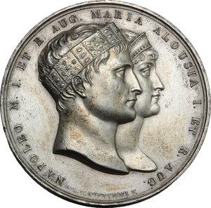 obverse: Milano. Napoleone (1804-1815). Medaglia 1810 per le nozze con Maria Luigia d Austria.    Julius 2272. AE argentato. g. 41.00  mm. 42.80    BB+.