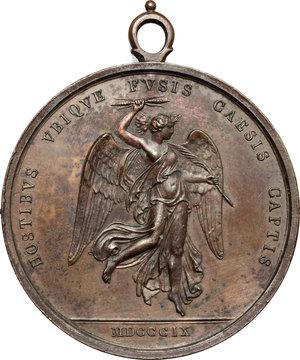 reverse: Napoleone I (1804-1814). Medaglia 1809 per la battaglia di Wagram.     AE.   mm. 43.00    qSPL.
