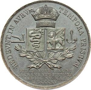 reverse: Milano. Francesco I d Asburgo e Lorena (1815-1835). Medaglia per il giuramento di Francesco I a Milano, 15 maggio 1815.    Bramsen 2309. Julius 3310. AE.   mm. 31.00 Inc. G. Vassallo.   SPL.