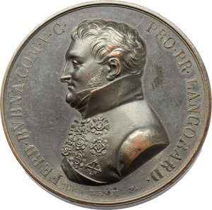 obverse: Ferdinand Graf Bubna von Littitz (1768-1825). Medaglia coniata.     AE.   mm. 43.50 Inc. Nesti. R.  Bel BB.