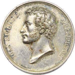 obverse: Giovanni Migliara (1785-1837), pittore. Medaglia celebrativa 1829.    Fava 1213 . AE argentato.   mm. 40.00 Inc. Lavy.   qSPL.