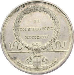reverse: Giovanni Migliara (1785-1837), pittore. Medaglia celebrativa 1829.    Fava 1213 . AE argentato.   mm. 40.00 Inc. Lavy.   qSPL.