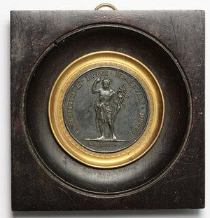 obverse: Leopoldo II d Asburgo-Lorena (1797-1870). Medaglia 1828 per la Società di San Giovanni Battista a Firenze,  in montatura d epoca.     AE.   mm. 42.00    qSPL.