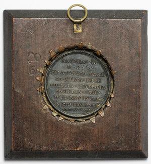 reverse: Leopoldo II d Asburgo-Lorena (1797-1870). Medaglia 1828 per la Società di San Giovanni Battista a Firenze,  in montatura d epoca.     AE.   mm. 42.00    qSPL.
