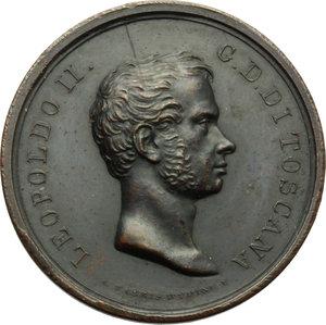 obverse: Firenze. Leopoldo II di Lorena (1824-1859). Medaglia 1836 per i ponti sospesi sull Arno.     AE.   mm. 31.00 Inc. A. Fabris.   SPL.