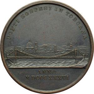 reverse: Firenze. Leopoldo II di Lorena (1824-1859). Medaglia 1836 per i ponti sospesi sull Arno.     AE.   mm. 31.00 Inc. A. Fabris.   SPL.