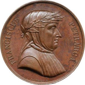 obverse: Arezzo. Francesco Petrarca (1304-1374). Medaglia 1819 della  series numismatica universalis virorum illustrium .     AE.   mm. 41.00    SPL+.
