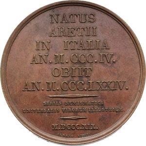 reverse: Arezzo. Francesco Petrarca (1304-1374). Medaglia 1819 della  series numismatica universalis virorum illustrium .     AE.   mm. 41.00    SPL+.