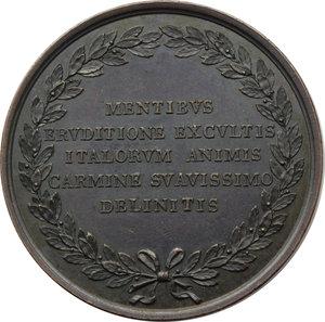 reverse: Arezzo. Francesco Petrarca (1304-1374). Medaglia 1840 della serie Uomini Illustri Italiana realizzata dopo il 1841.     AE.   mm. 42.00 Inc. Giacometti.   SPL.