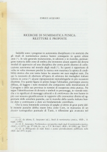 D/ Acquaro Enrico. Ricerche di numismatica punica: riletture e proposte. Milano, s.d. Brossura pp. 6