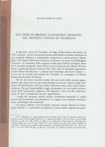 D/ Balbi de Caro Silvana. Due serie in bronzo a leggenda
