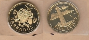 D/ BARBADOS, Five cents 1974 PROOF