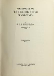 D/ Robinson E. Stanley G. BMC vol. XXIX: Cyrenaica. Ristampa Forni. Tela editoriale, pp. 475, ill.