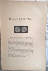 D/ Ambrosoli Solone, Lo zecchino di Porcia. Milano, 1897 Raro Brossura, pp. 16, ill.