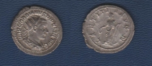 D/ Gordian III. (238-244 AD.) AR Antoninianus Rome. 4.58 gr. D / IMP GORDIANVS PIVS FEL AVG Bust radiated to the right. R / LAETITIA AVG N The Letizia standing to the left with scepter and crown.. about Extremely Fine  wide flan