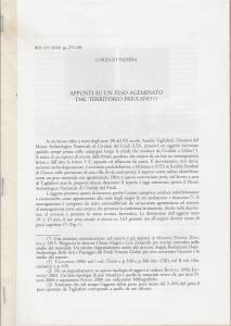 D/ Passera Lorenzo. Appunti su un peso ageminato dal territorio friulano. Milano, 2018 pp. 10, ill.
