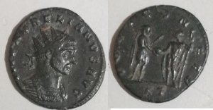 D/ Aurelianus (270-275 AD). AE Antoniniano, Siscia. D / IMP AVRELIANVS AVG Bust radiated to the right. R / IOVI CONSER Giove delivers a globe to the emperor, placed in front of him. RIC 225 Good Very Fine.