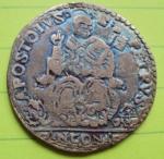 D/ ANCONA, Gregorio XIII (1572-1585) AR Testone 9,54 gr. da vecchia collezione, patina completamente iridescente Muntoni 228 BB