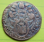 R/ ANCONA, Gregorio XIII (1572-1585) AR Testone 9,54 gr. da vecchia collezione, patina completamente iridescente Muntoni 228 BB