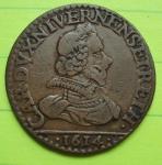 D/ CHARLEVILLE, Carlo I Gonzaga Nevers duca di Mantova (1627-1637) Doppio Liard 1614 CU Magnaguti 704 BB