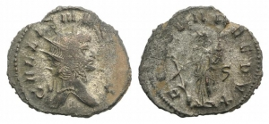 D/ Gallienus (253-268). Antoninianus (19mm, 3.21g, 6h). Rome, 265-267.Radiate head r. R/ Fortuna standing facing, head l., holding cornucopia in l. hand and rudder with r. hand; ς to r. RIC V 572. Good VF